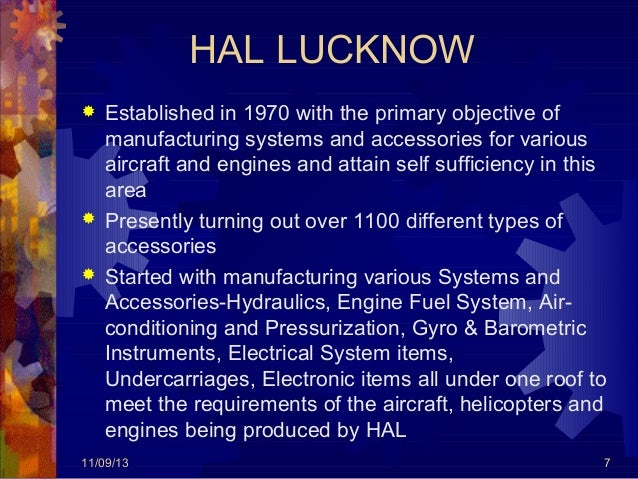 Industrial Training At Hindustan Aeronautics Limited Lucknow