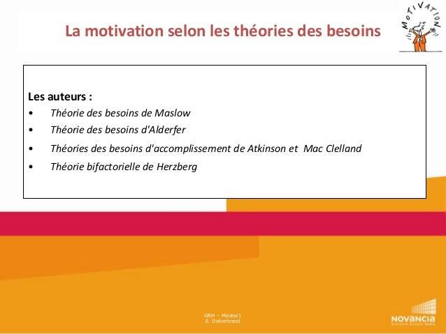 La motivation selon les théories des besoins  Les auteurs : • •  Théorie des besoins de Maslow Théorie des besoins d'Alder...