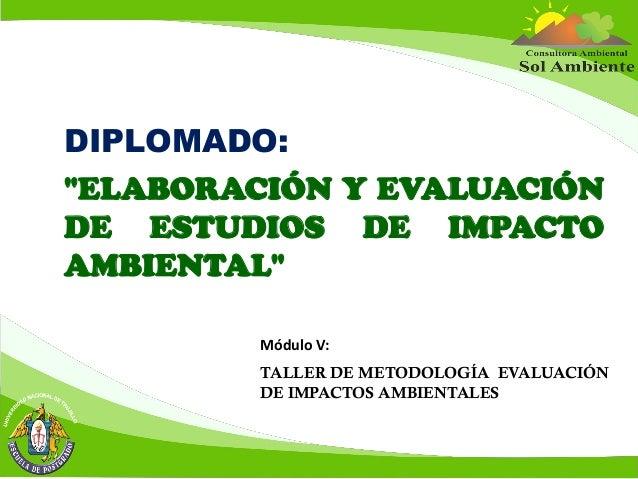 """DIPLOMADO: """"ELABORACIÓN Y EVALUACIÓN DE ESTUDIOS DE IMPACTO AMBIENTAL"""" Módulo V: TALLER DE METODOLOGÍA EVALUACIÓN DE IMPAC..."""
