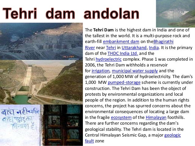 Ppt on tehri dam by shubham dobhal.