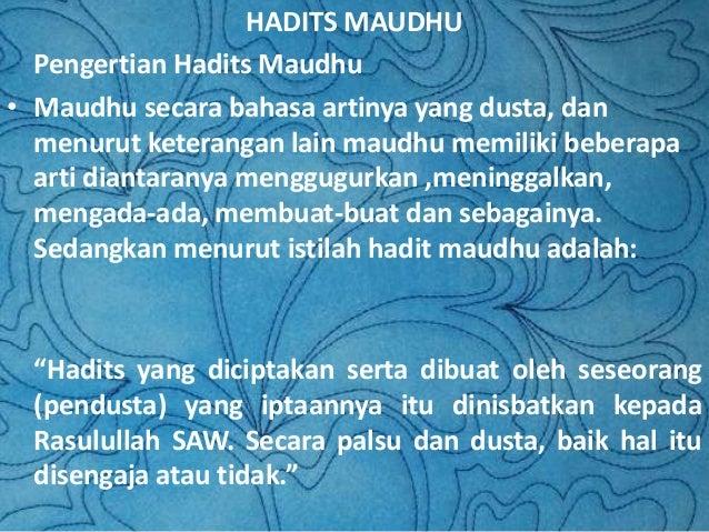 Hadits Dha If Dan Hadits Maudhu