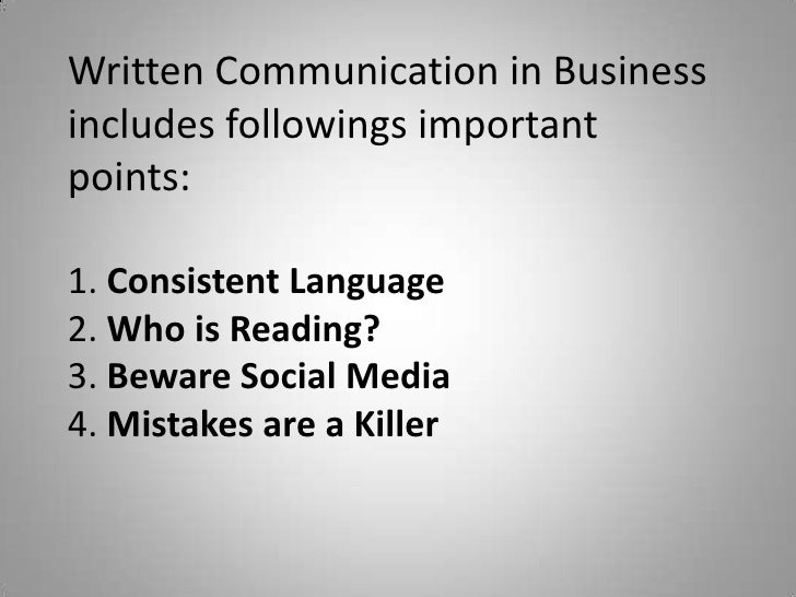 what is the importance of written communication