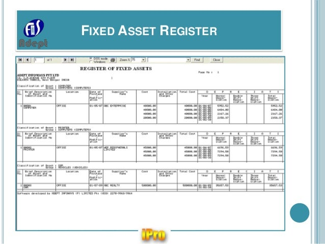 Ipro software for company statutory e forms registers for Fixed asset policy template