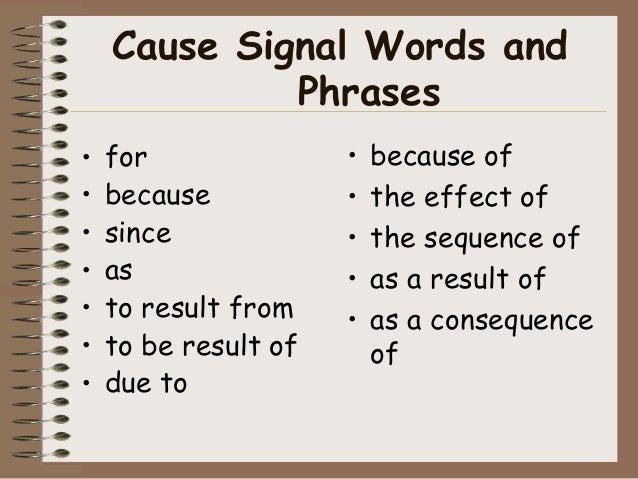 cause and effect essay transitional words
