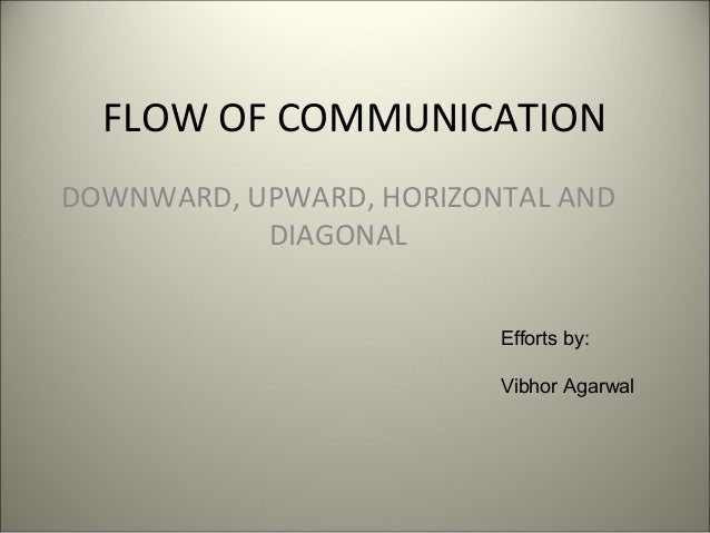 FLOW OF COMMUNICATION DOWNWARD, UPWARD, HORIZONTAL AND DIAGONAL Efforts by: Vibhor Agarwal