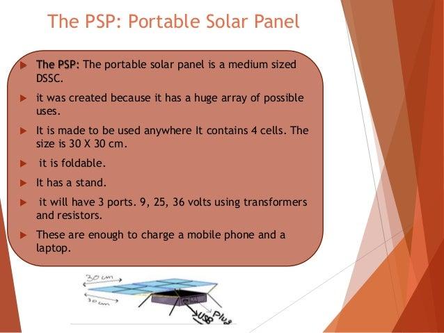 Dye Sensitized Solar Cells Portable Solar Panel Idm8