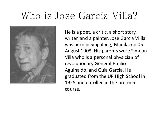 the fence of jose garcia villa Can you have a copy of the fence by jose garcia villa footnote to youth by jose garcia villa-full story.