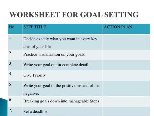 goal and action plan Goal setting and action planning spring, 2009 2 agenda purpose and benefits of goal setting how to set goals goal setting practice purpose of action plans action plan definition action plans make goals happen.