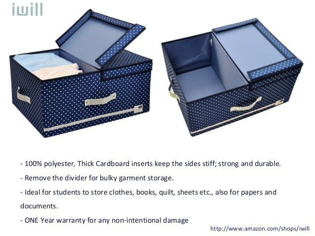 I WILL Jumbo Foldable High Density Thicken Polyester Storage Bin Clothes  Organizer Box With Lid And Removable Divider, Blue Dot With Navy Blue Trim