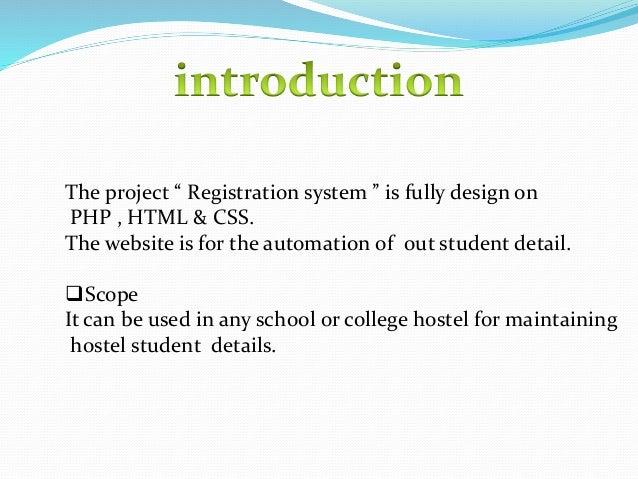 Registration system in hostel