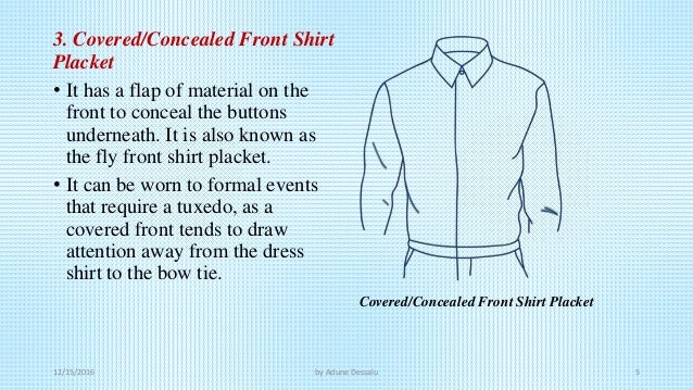 Placket yoke and poket for Tuxedo shirt covered placket