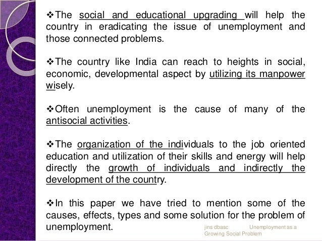 social problems caused by unemployment