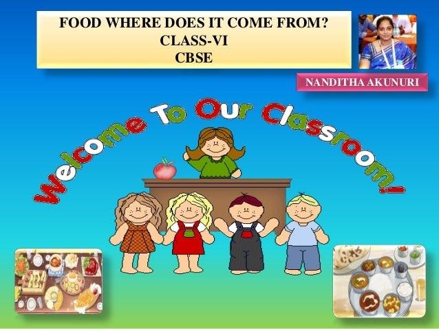 FOOD WHERE DOES IT COME FROM? CLASS-VI CBSE NANDITHA AKUNURI