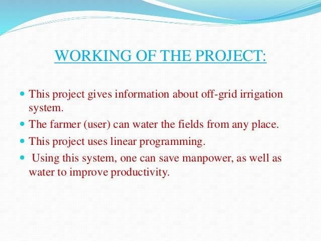 solar powered irrigation system project pdf