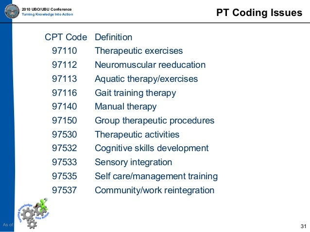Ppt 2010 ubo ubu physical therapy coding amp billing