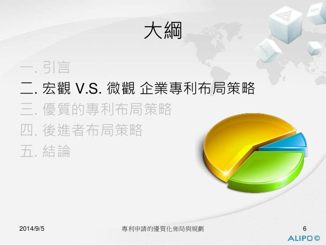 大綱  一. 引言  二. 宏觀V.S. 微觀企業專利布局策略  三. 優質的專利布局策略  四. 後進者布局策略  五. 結論  2014/9/5 專利申請的優質化佈局與規劃6