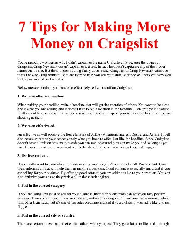 7 Tips for Making More Money on Craigslist