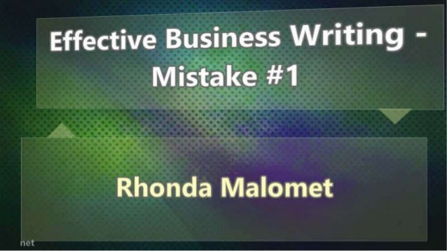 Effective Business Writing - Mistake #1