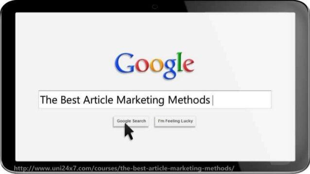 The Best Article Marketing Methods Slide 2