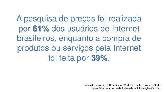 A pesquisa de preços foi realizada por 61% dos usuários de Internet brasileiros, enquanto a compra de produtos ou serviços...