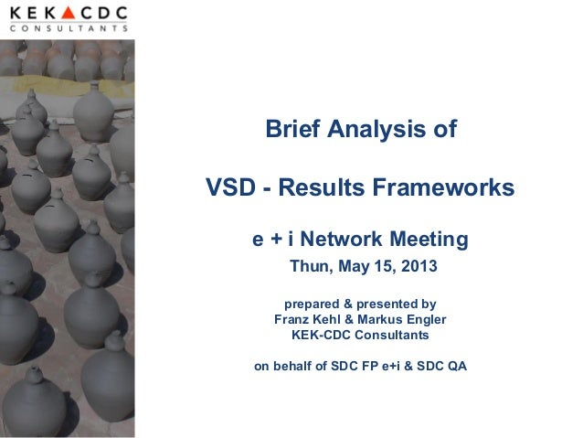 Brief Analysis ofVSD - Results Frameworkse + i Network MeetingThun, May 15, 2013prepared & presented byFranz Kehl & Markus...