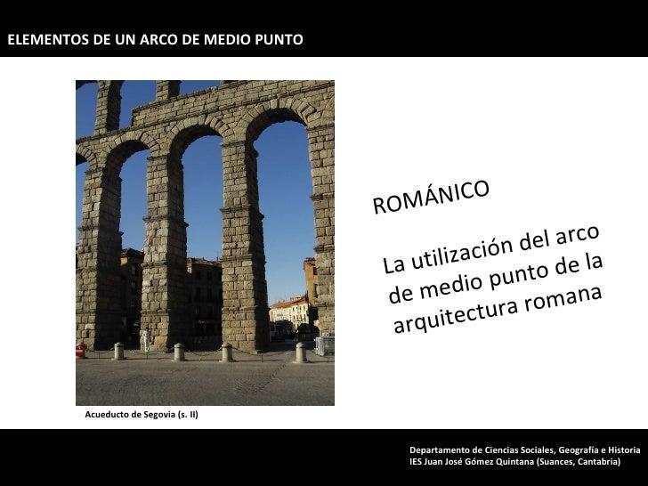 Acueducto de Segovia (s. II) ROMÁNICO La utilización del arco de medio punto de la arquitectura romana ELEMENTOS DE UN ARC...