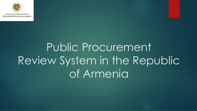Public Procurement Review System in the Republic of Armenia