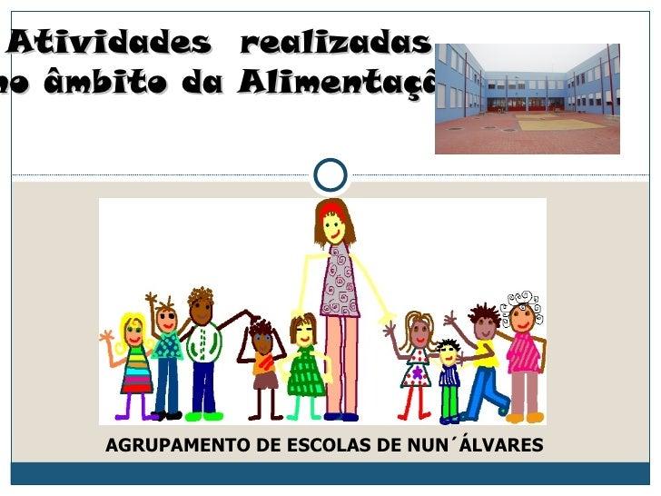 Atividades realizadasno âmbito da Alimentação     AGRUPAMENTO DE ESCOLAS DE NUN´ÁLVARES