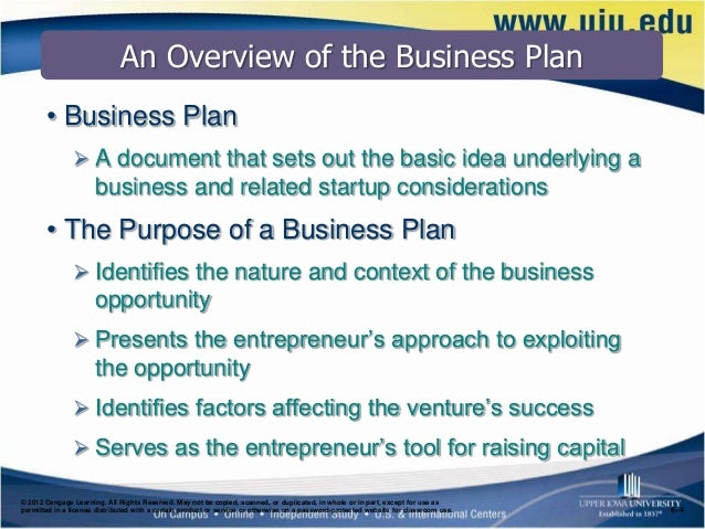 Week   Lecture   The Business Plan