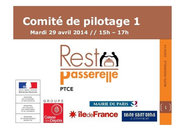 02 • TITRE DE LA PARTIE • 00.00.00 • RESTO PASSERELLE Mardi 29 avril 2014 // 15h – 17h Comité de pilotage 1 29/04/14 1 RES...