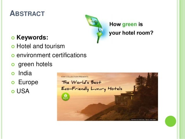 environmental certification for hotels and tourism businesses