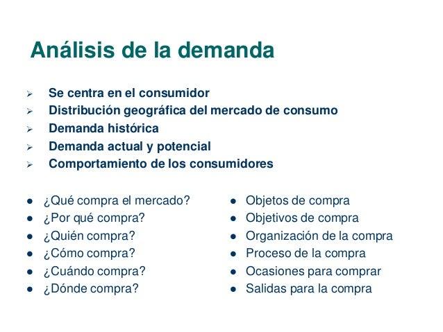 Análisis de la demanda   Se centra en el consumidor   Distribución geográfica del mercado de consumo   Demanda históric...