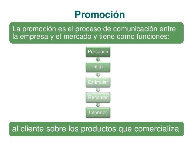 Promoción  La promoción es el proceso de comunicación entre  la empresa y el mercado y tiene como funciones:  Persuadir  I...