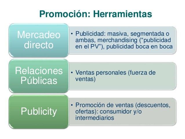 """Promoción: Herramientas  • Publicidad: masiva, segmentada o  ambas, merchandising (""""publicidad  en el PV""""), publicidad boc..."""