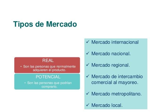 Tipos de Mercado  REAL  • Son las personas que normalmente  adquieren el producto.  POTENCIAL  • Son las personas que podr...