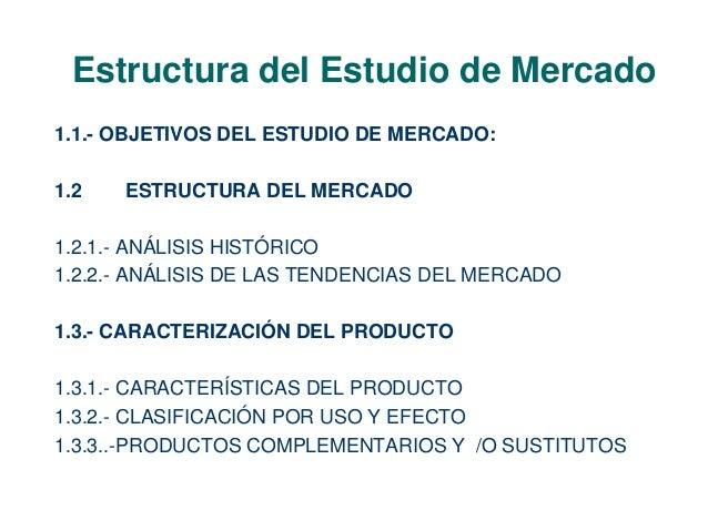 Estructura del Estudio de Mercado  1.1.- OBJETIVOS DEL ESTUDIO DE MERCADO:  1.2 ESTRUCTURA DEL MERCADO  1.2.1.- ANÁLISIS H...
