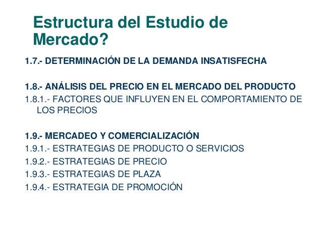 Estructura del Estudio de  Mercado?  1.7.- DETERMINACIÓN DE LA DEMANDA INSATISFECHA  1.8.- ANÁLISIS DEL PRECIO EN EL MERCA...