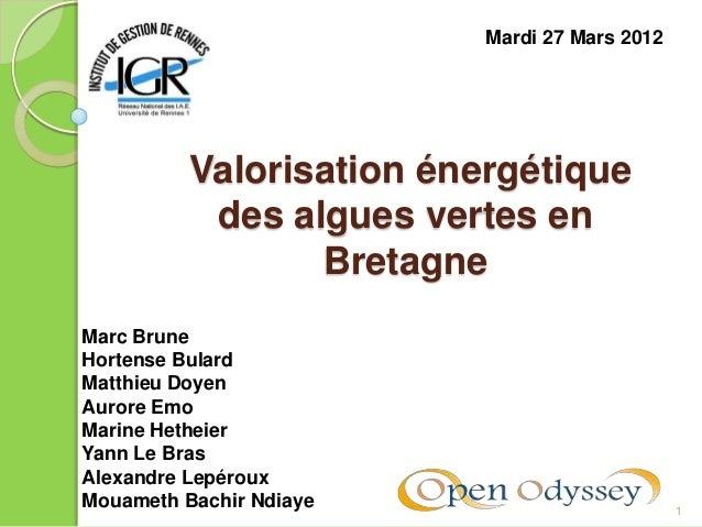 1Valorisation énergétiquedes algues vertes enBretagneMardi 27 Mars 2012Marc BruneHortense BulardMatthieu DoyenAurore EmoMa...