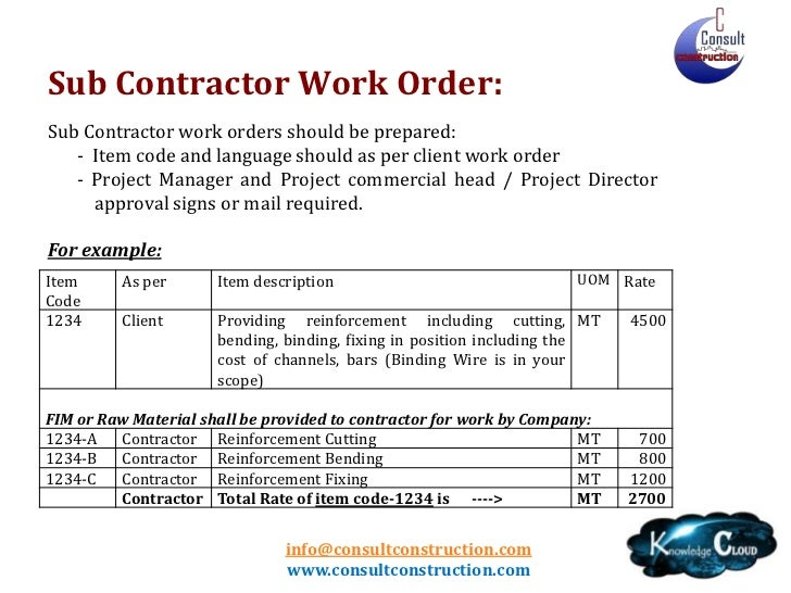 construction work order format