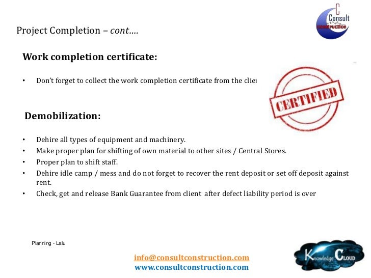 Doc768994 Project Completion Certificate Format PROJECT – Work Completion Certificate Format