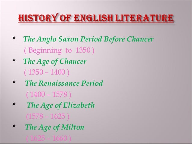 history of english literature sparknotes