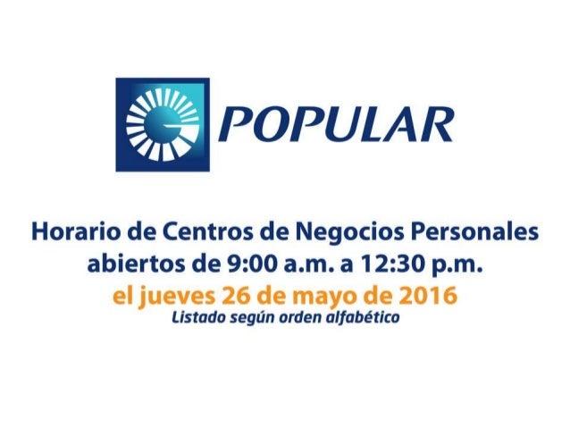 Horarios de Centro de Negocios Personales jueves 26 de mayo de 2016