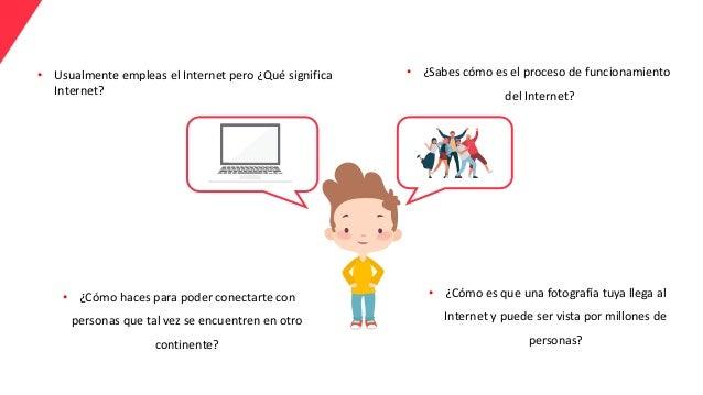 • Usualmente empleas el Internet pero ¿Qué significa Internet? • ¿Sabes cómo es el proceso de funcionamiento del Internet?...