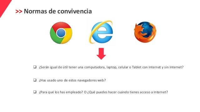 >> Normas de convivencia  ¿Serán igual de útil tener una computadora, laptop, celular o Tablet con Internet y sin Interne...
