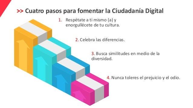 >> Cuatro pasos para fomentar la Ciudadanía Digital 1. Respétate a ti mismo (a) y enorgullécete de tu cultura. 2. Celebra ...