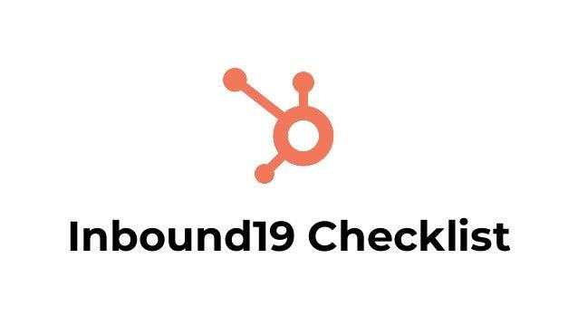 Inbound19 Checklist