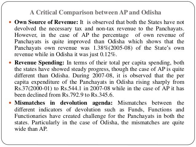 A Critical Comparison between AP and Odisha  Own Source of Revenue: It is observed that both the States have not devolved...