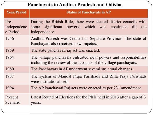 Panchayats in Andhra Pradesh and Odisha Year/Period Status of Panchayats in AP Pre- Independenc e Period During the Britis...