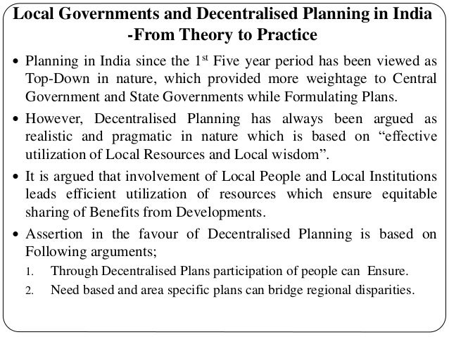 decentralized planning in india
