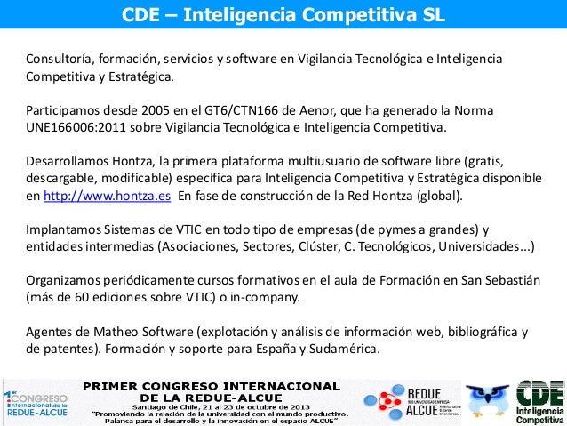 I Congreso RedUE-ALCUE - Panel de Vigilancia Tecnológica: Juan Carlos Vergara Slide 2